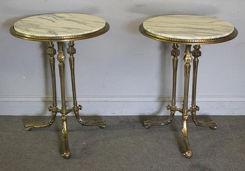 Pair of Antique Brass and Marbletop Stands.