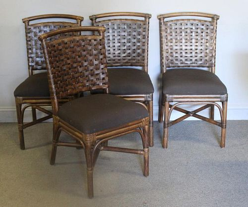 4 Bamboo Chairs With Leather Basketweave Style