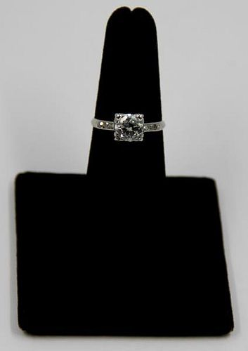 JEWELRY. Platinum and Diamond Engagement Ring.