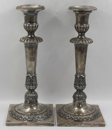 SILVER. Pair of Antique German Silver Candlesticks