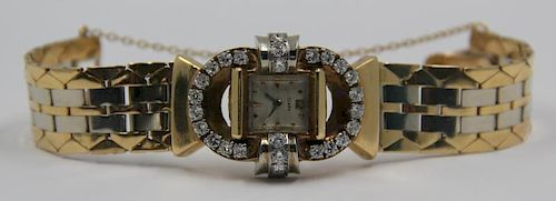 JEWELRY. Retro 14kt Gold and Diamond Ladies Watch.