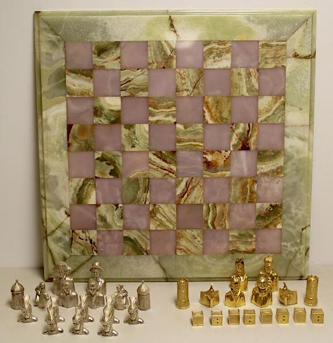 STERLING. 20th C English Silver Liberty Chess Set.