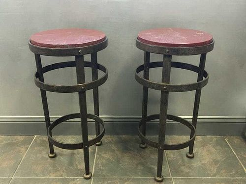 Pair of Vintage French Marble Top Iron End Tables.