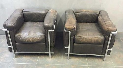 Midcentury Pair of Le Corbusier LC2 Chairs.