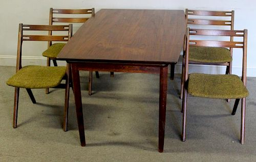 Midcentury Danish Dining Set Including 6 Chairs.
