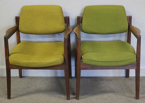 Pair of Midcentury Jens Risom Upholstered Chairs.