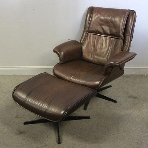 Eames Style Leather Upholstered Chair & Ottoman