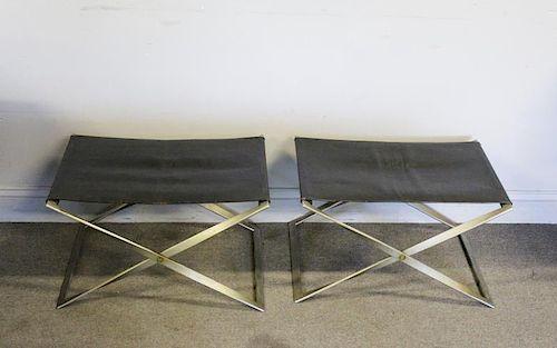 Pair of Poul Kjaerholm PK-91 Folding Stools.