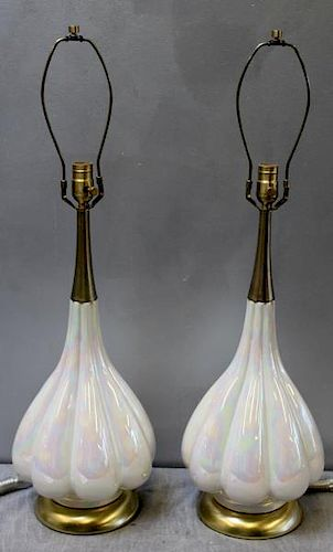 Midcentury Pair of Opalescent Glazed Table Lamps.