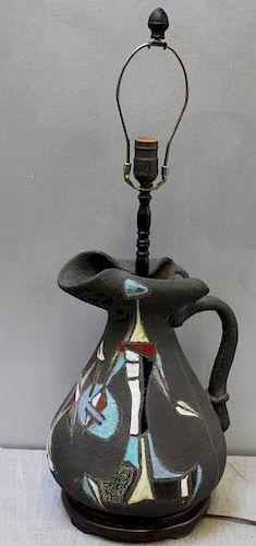 Midcentury Marcello Fantoni Cubist Pitcher Lamp.