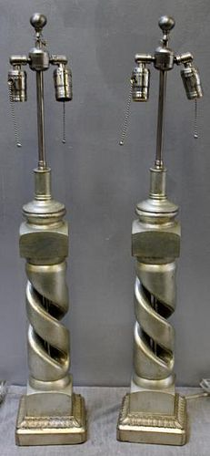 Modern Pair of James Mont Style Helix Lamps.