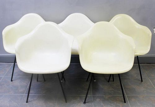 5 Early Eames DAX Chairs Including Rope Edge
