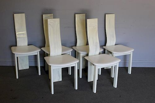 1980s Set of 6 Lacquered Dining Chairs.