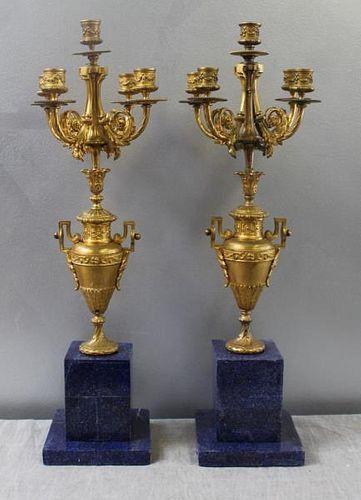 Pair of Gilt Metal Candleabra Mounted on Lapis