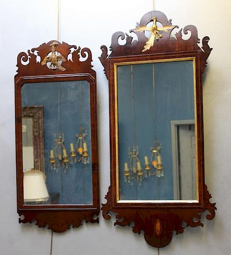 2 Antique Chippendale Style Mahogany Mirrors