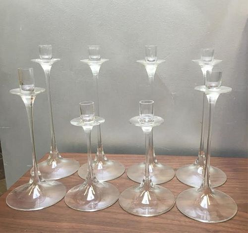 Group of 8 Orrefors Crystal Candlesticks