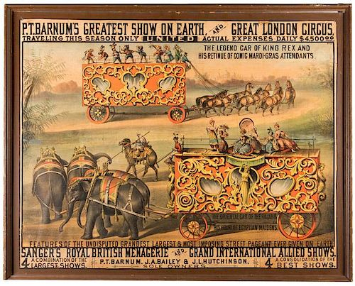 P.T. Barnum's Greatest Show on Earth. The Legend Car of King Rex and His Retinue of Comic Mardi Gras Attendants.