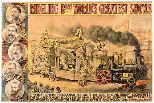 "Ringling Brothers. The Grand Highway Locomotive ""Hercules,"" Capacity 120,000 Lbs. Drawing a Section of the Enormous Street Parade"