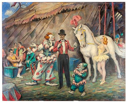 Circus Scene. The Ring Master Ð The Equestrian Director Fred Bradna.
