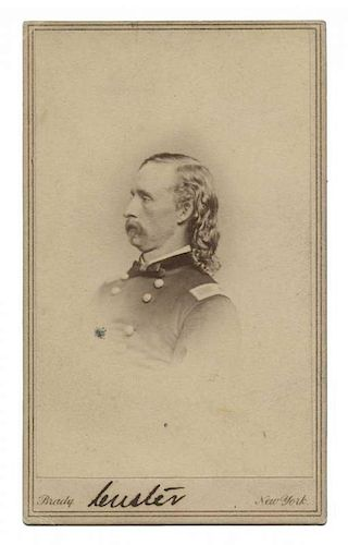 Autographed Carte De Visite Of George Armstrong Custer By Potter