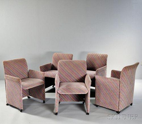 Five Giovanni Offredi for Saporiti Chairs