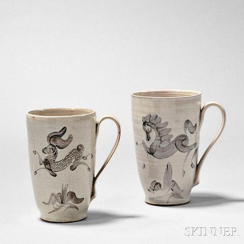 Two Mary (1909-2007) and Edwin (1910-2008) Scheier Mugs