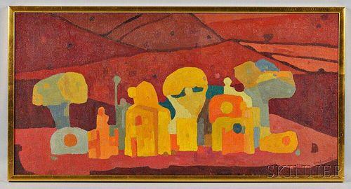 Francesco Casorati (Italian, b. 1934)      Figure nel Paesaggio