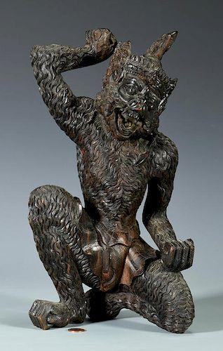 Chinese Carved Hardwood Sun Wukong Figure