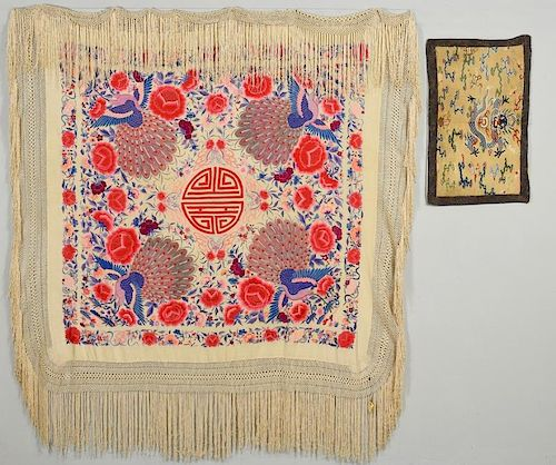 2 Chinese Silk Textiles- Shawl & Badge
