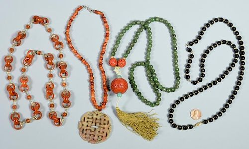 Chinese Carved and/or Beaded Necklaces