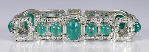 Art Deco Emerald and Diamond Bracelet