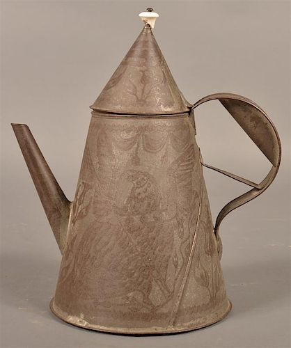 Rare SE PA Wriggle Work Tin Coffee Pot.