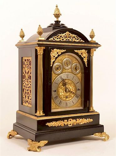 Ebonized Triple Fusee English Bracket Clock.