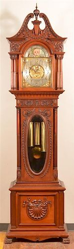 Carved Mahogany  Victorian Tall Case Clock.