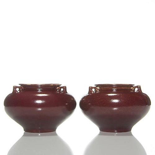 Pr Selden Bybee Gourd Vases 3 Handles Red 4 34 By Humler And