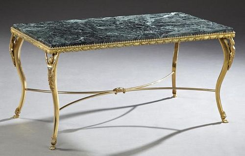 French Gilt Bronze Marble Top Coffee Table, 20th c