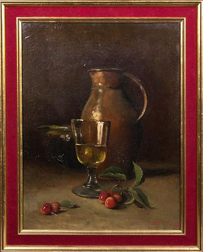 "E.D. Juia, ""Still Life of Glass, Jug, and Cherries"
