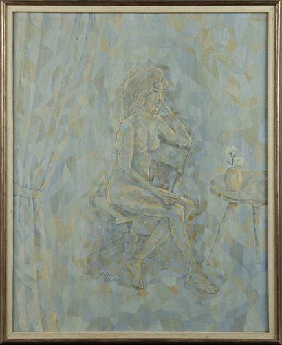 """Ruth Carvin, """"Seated Nude,"""" 20th c., oil on canvas"""