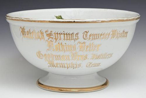 """Porcelain Advertising Punch Bowl, 19th c., for """"Ra"""