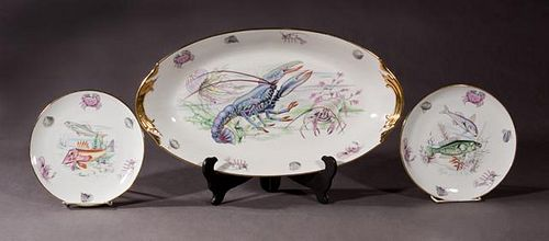 Thirteen Piece French Porcelain Fish Set, 20th c.,
