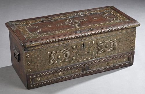 Anglo-Indian Brass and Copper Bound Carved Teak Tr