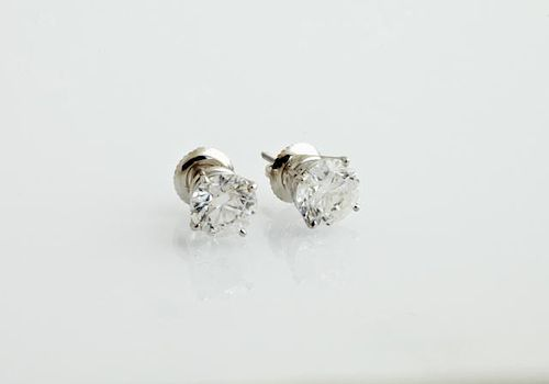 Pair of 14K White Gold Diamond Stud Earrings, each