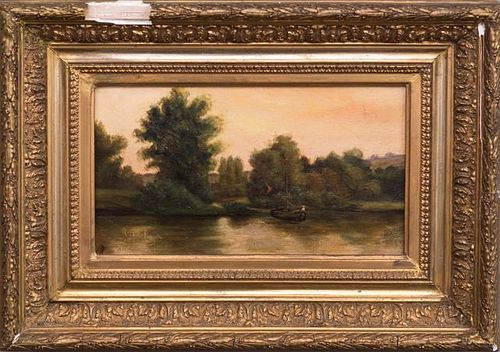 """French School, """"River Landscape with Boat,"""" 19th c"""