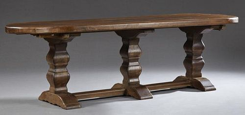 French Provincial Carved Oak Monastery Table, 19th