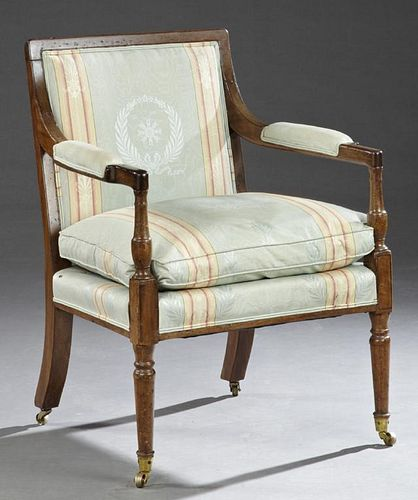 Restauration Carved Mahogany Fauteuil,ÿlate 19th c
