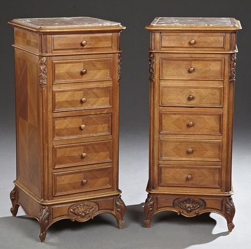 Pair of Carved Walnut Louis Philippe Marble Top Ni