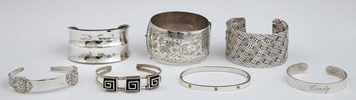Group of Seven Sterling Cuff Bracelets, 20th c., o