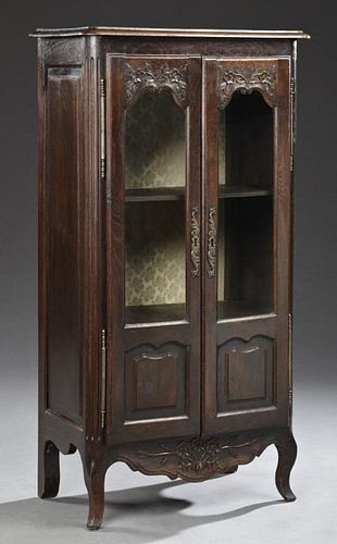 Diminutive Louis XV Style Carved Oak Curio Cabinet
