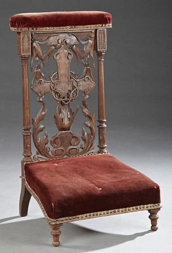 French Carved Oak Prie Dieu, 19th c., the upholste