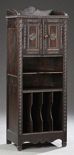 French Renaissance Style Carved Oak Music Cabinet,